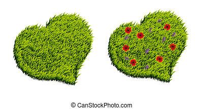 Green grass heart shape
