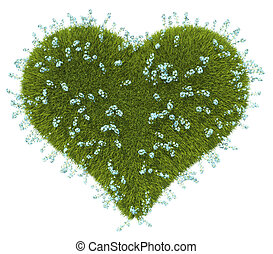 Green grass heart shape with forget-me-not flowers
