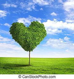 Green grass heart symbol