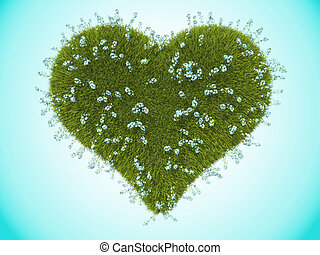 Green grass heart with forget-me-not flowers