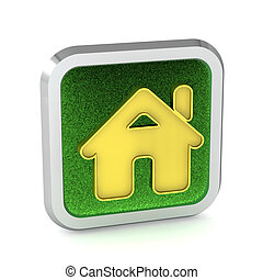 green grass home button icon on a white background