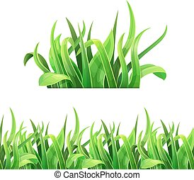 Green grass horizontal seamless Vector.