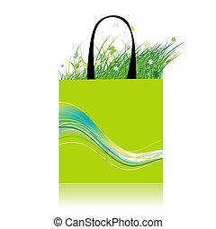Green grass in bag, ecology