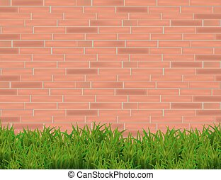 Green Grass Isolated on Red Brick Wall  Background.