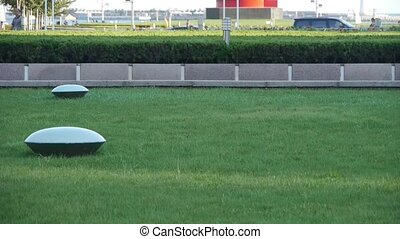 Green grass lawn & Transportation in QingDao City.