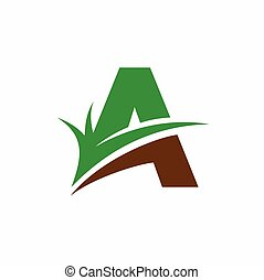 Green Grass, Letter A Logo Template