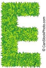 Green grass letter e on white background