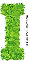 Green grass letter i on white background