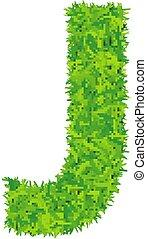 Green grass letter j on white background