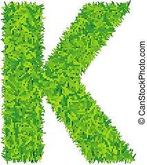Green grass letter k on white background