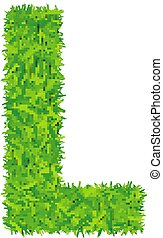 Green grass letter l on white background