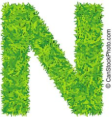 Green grass letter n on white background