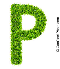 green grass letter P Isolated