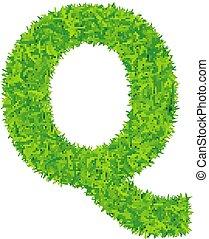 Green grass letter q on white background