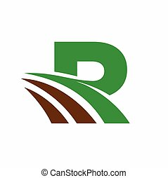 Green Grass, Letter R Logo Template