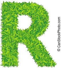 Green grass letter r on white background