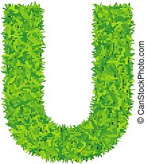 Green grass letter u on white background