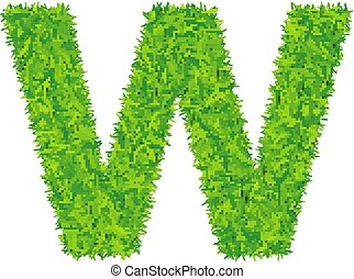 Green grass letter w on white background