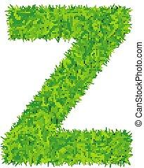Green grass letter z on white background