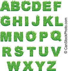 Green grass letters of alphabet