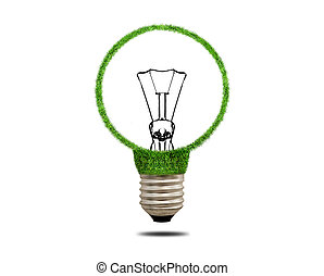 Green grass light bulb. Concept of green energy