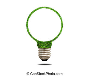 Green grass light bulb. Concept of green energy - Green...