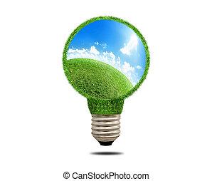 Green grass light bulb with beautiful scenery