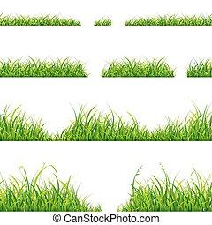 Green Grass Line Set. Vector