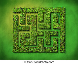 green grass maze, on green background. clipping path is...