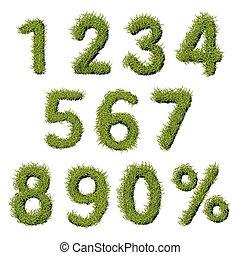 Green Grass Numbers Set