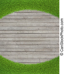 green grass on wood floor background