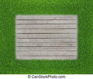green grass on wood floor background
