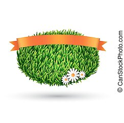Green grass oval with chamomiles and flag isolated on white