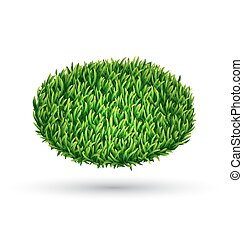 Green grass oval with shadow isolated on white