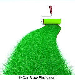 Green Grass Painting - 3d image of a brush painting a wall...