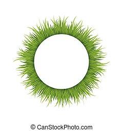 Green grass round frame