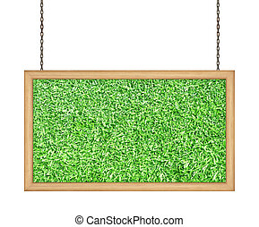 Green grass signboard hanging a chain isolated on white background