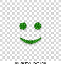 Green grass smile 3D. Smiley grassy icon Isolated white transparent background. Ecology concept. Happy smiling sign. Symbol eco lawn, nature, safe environment, healthy, spring. Vector illustration