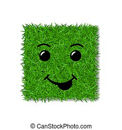 Green grass square field 3D. Face smile. Smiley grassy icon, isolated white transparent background. Ecology concept. Smiling sign. Symbol eco, nature, safe environment, spring. Vector illustration