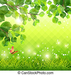 Green Grass Tree Branch Butterfly Background