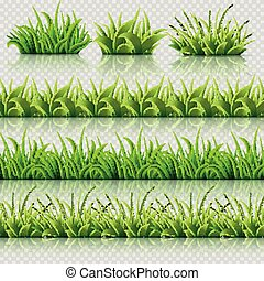 Green grass vector seamless borders set