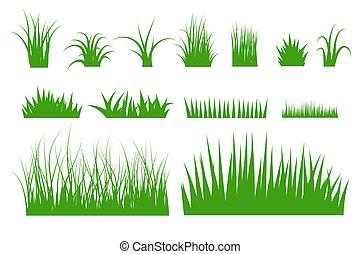 Green grass vector set.