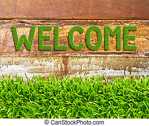 green grass welcome word on wood background