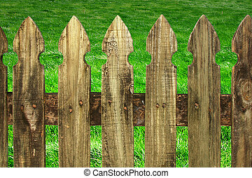green grass with fence