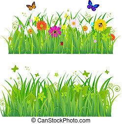 Green Grass With Flowers And Insects, Isolated On White...