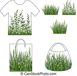 Green Grass with Flowers, Set