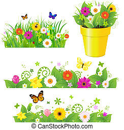 Green Grass With Flowers Set, Isolated On White Background,...