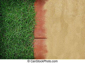green grass with red brick, sand