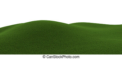 computer generated green grassy hill with white background