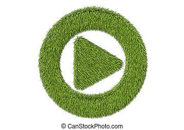 green grassy media player button, 3D rendering